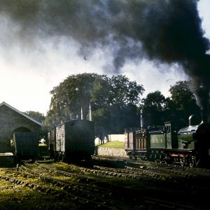 No.876 sets off: Rowley Station, Beamish Museum, September 1980